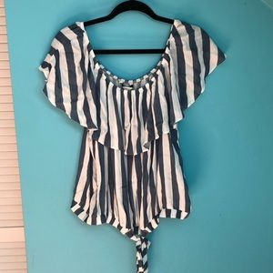 White & Blue striped off the shoulder